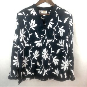 Talbots Floral Embroidered Pullover Blouse 16W